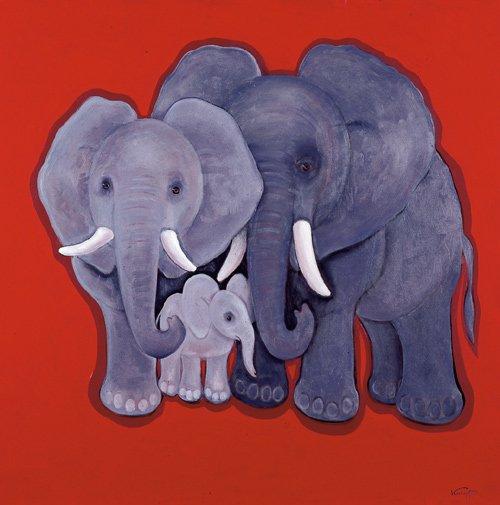 Kumpf Elefantenfamilie