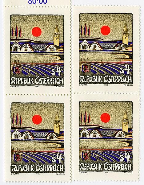 Kumpf Abendsonne über dem Burgenland 1983 Briefmarke