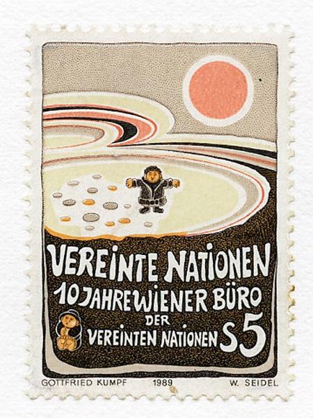 Kumpf Vereinte Nationen Briefmarke 1989 UNO Wien