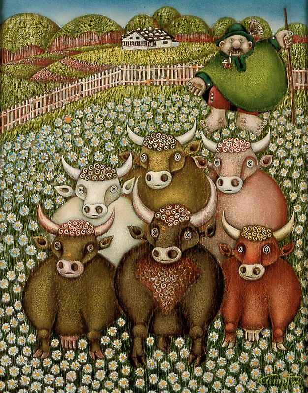 Gottfried Kumpf rosa Kühe