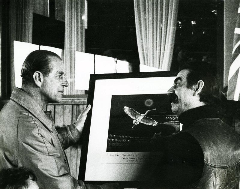 Gottfried Kumpf Prinz Philip und Gottfried Kumpf mit dem Bild Löffler über der Langen Lacke