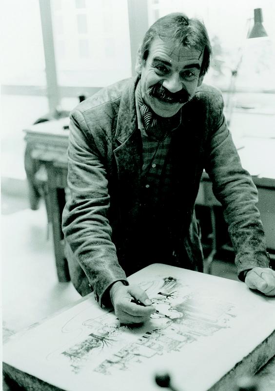 Gottfried Kumpf in der Druckerei Hausstein, Wr.Neustadt, arbeitet Gottfried Kumpf am Lithostein